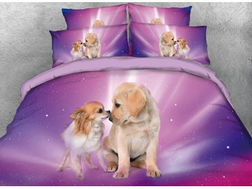 Vivilinen 3D Galaxy Couple Dogs Printed 4-Piece Purple Bedding Sets/Duvet Covers