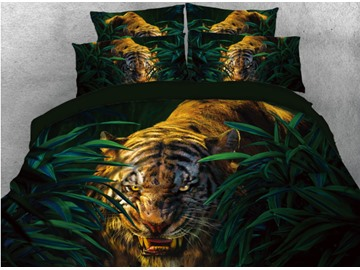 Tiger in the Jungle Printed 4-Piece 3D Bedding Sets/Duvet Covers