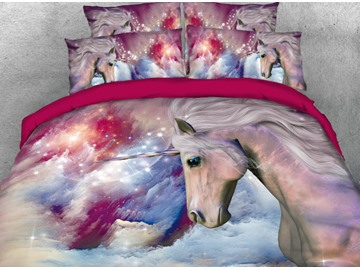 Onlwe 3D Galaxy and Unicorn Printed 4-Piece Bedding Sets/Duvet Covers
