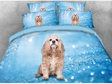 Onlwe 3D Cute Puppy Printed 4-Piece Bedding Sets/Duvet Covers