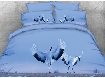 Vivilinen 3D White Crane Dancing on the Grass Printed 4-Piece Bedding Sets/Duvet Covers