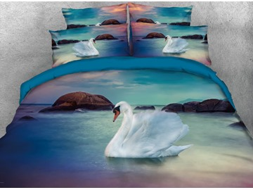 Onlwe 3D White Swan on a Sparkling Lake Printed 4-Piece Bedding Sets/Duvet Covers