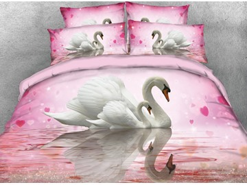Onlwe 3D Couple White Swans on the Water Printed 4-Piece Bedding Sets/Duvet Covers