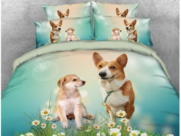 Onlwe 3D Corgi with Daisy Printed 4-Piece Bedding Sets/Duvet Covers