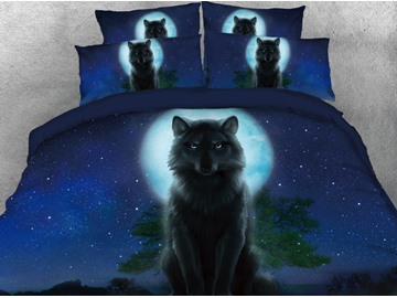 Onlwe 3D Wolf in the Dark Printed 4-Piece Deep Blue Bedding Sets/Duvet Covers