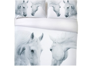 Onlwe 3D Couple Horses Printed 4-Piece White Bedding Sets/Duvet Covers