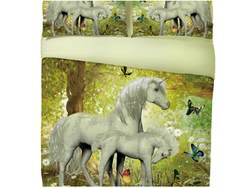 Onlwe 3D Couple Unicorn and Butterfly Printed Cotton 4-Piece Bedding Sets/Duvet Covers
