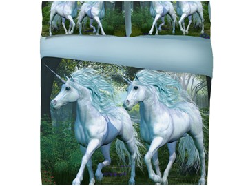 Onlwe 3D Running Couple Unicorn Printed Cotton 4-Piece Bedding Sets/Duvet Covers