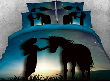 Onlwe 3D Unicorn & Girl Printed Cotton 4-Piece Bedding Sets/Duvet Covers