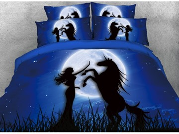 Vivilinen 3D Unicorn & Girl Printed Cotton 4-Piece Dark Blue Bedding Sets/Duvet Covers