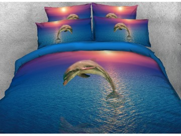 3D Jumping Dolphin with Sunset Printed 4-Piece Blue Bedding Sets/Duvet Covers