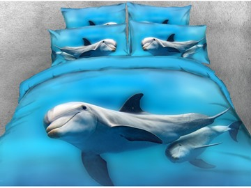 Onlwe 3D Couple Dolphins Printed Cotton 4-Piece Blue Bedding Sets/Duvet Covers