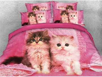3D Cats Sitting Red Reactive Printing Cotton 4-Piece Bedding Sets/Duvet Covers