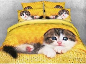 3D Lying Cat Yellow Printed Cotton 4-Piece Bedding Sets/Duvet Covers