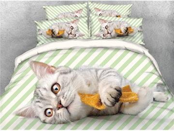 3D Cat and Green Stripes Printed Cotton 4-Piece Bedding Sets/Duvet Covers