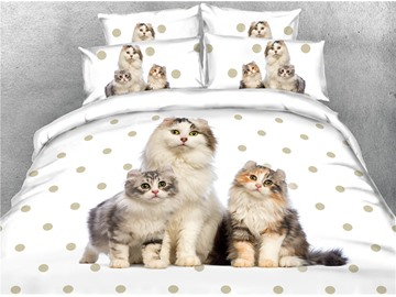 3D Cats and Polka Dot Printed Cotton 4-Piece Bedding Sets/Duvet Covers