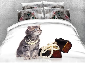3D Cat & Jewelry Box Printed Cotton 4-Piece Bedding Sets/Duvet Covers