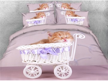 3D Cat Sleeping in White Shopping Cart Printed Cotton 4-Piece Bedding Sets/Duvet Covers