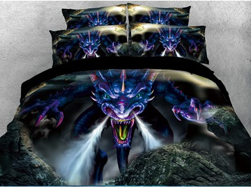 3D Powerful Dragon Digital Printing 4-Piece Red Bedding Sets/Duvet Covers