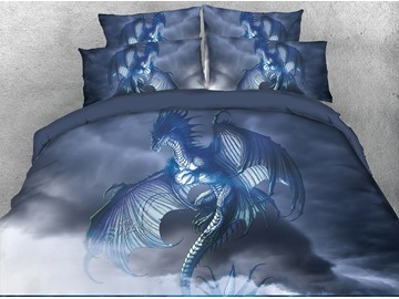 3D Dragon Opened Wings in Sky Digital Printing 4-Piece Bedding Sets/Duvet Covers
