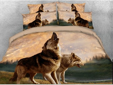 Onlwe 3D Wolves Howling Digital 4-Piece Bedding Sets/Duvet Covers