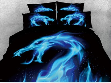 3D Blue Dragon Flame Digital Printing 4-Piece Red Bedding Sets/Duvet Covers