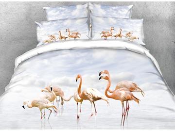 Vivilinen 3D Group of Flamingos Digital Printing Cotton 4-Piece Bedding Sets/Duvet Covers