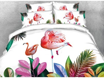 Vivilinen 3D Pink Flamingos and Tropical Plants Digital Printing Cotton 4-Piece Bedding Sets/Duvet Covers