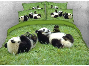 Vivilinen Pandas Eating Bamboo Digital Printed Cotton 3D 4-Piece Bedding Sets/Duvet Covers