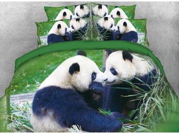 Onlwe 3D Panda Couple Digital Printed Cotton Green 4-Piece Bedding Sets/Duvet Covers