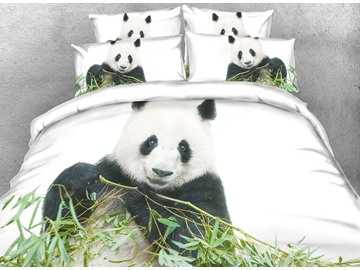 Onlwe 3D Panda and Green Bamboo Digital Printing Cotton 4-Piece Bedding Sets/Duvet Covers