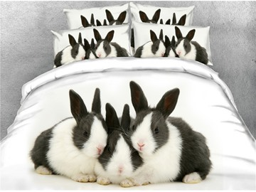 3D Rabbits Family Digital Printed Cotton 4-Piece Bedding Sets/Duvet Covers
