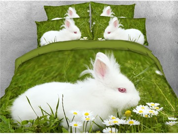 3D White Rabbit and Green Grass Digital Printed Cotton 4-Piece Bedding Sets/Duvet Covers