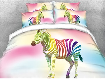 3D Colorful Stripes Zebra Digital Printed 4-Piece Bedding Sets/Duvet Covers