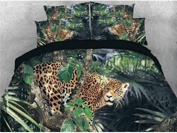 3D Leopard on the Jungle Digital Printed 4-Piece Bedding Sets/Duvet Covers