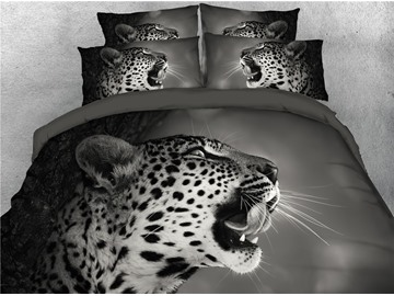 3D Angry Leopard Open the Mouth Grey Digital Printed 4-Piece Bedding Sets/Duvet Covers