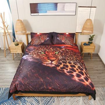 Wild Leopard Soft Lightweight 3D 4Pcs Animal Zipper Duvet Cover Set Bedding Set