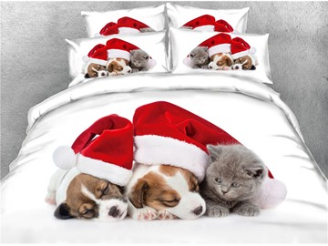 3D Dogs Wearing Christmas Hat and Cat Digital Printed Cotton 4-Piece Bedding Sets/Duvet Covers