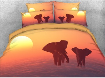 3D Elephants Walking Under the Sunset Digital Printed 4-Piece Black Bedding Sets/Duvet Covers