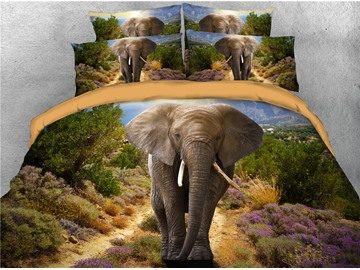 Elephant and Path with Flower Digital Printed 4-Piece 3D Black Bedding Sets/Duvet Covers