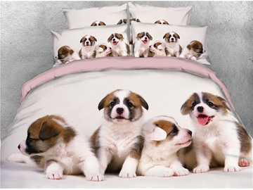 Four Cute Puppies Digital Printed Cotton 4-Piece 3D Bedding Sets/Duvet Covers