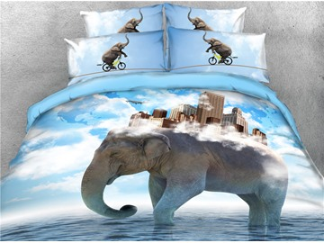 3D High Buildings on the Back of the Elephant Digital Printed 4-Piece Black Bedding Sets/Duvet Covers