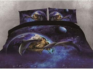 Three Dolphins and Blue Galaxy Planet Printing Cotton 4-Piece 3D Bedding Sets/Duvet Covers