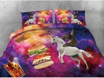 Sloth Riding A Unicorn and Hamburger Galaxy Printing 4-Piece 3D Bedding Sets/Duvet Covers