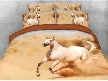 Running White Horse and Dust Digital Printing 3D 4-Piece Bedding Sets/Duvet Covers