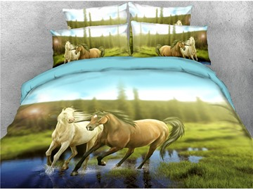 Running Horse and Green Grass Digital Printing 3D 4-Piece Bedding Sets/Duvet Covers