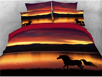 Running Shadow Horse and Lake Digital Printing 4-Piece 3D Bedding Sets/Duvet Covers