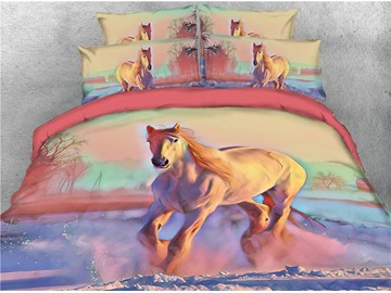 Running Horse and Scenery Digital Printing 3D 4-Piece Bedding Sets/Duvet Covers