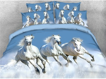 White Running Horse and Snow Printing 3D 4-Piece Bedding Sets/Duvet Covers