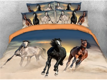 Galloping Horses and Desert Digital Printing Cotton 3D 4-Piece Bedding Sets/Duvet Covers